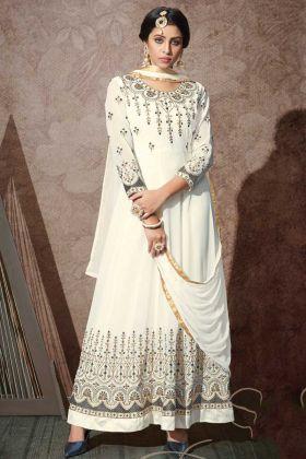 White Color Stylish Designer Embroidered Anarkali Dress