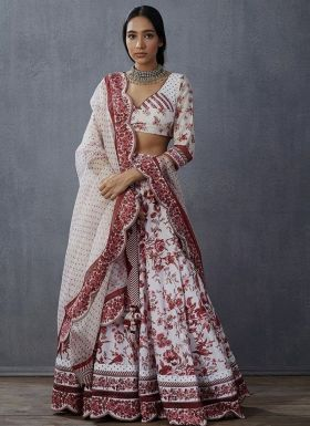 White Digital Print Lehenga For Wedding