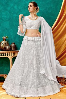 White Embroidered Sparkle Net Wedding Bridal Lehenga Choli
