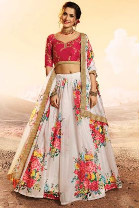 White Printed Sequence Zari Work Pure Organza Lehenga Choli
