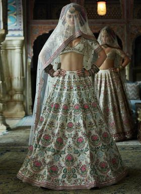 White Taffeta Wedding Wear Lehenga Choli
