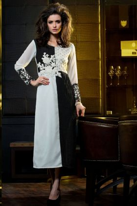 White and Black Color Kurti Design