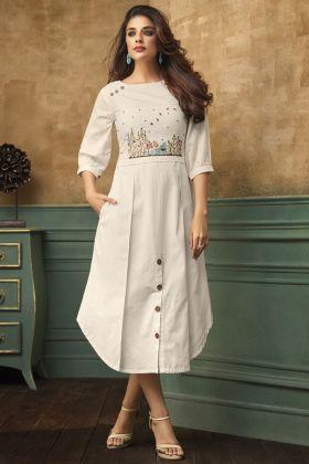 White Color Satin Cotton Kurti Design