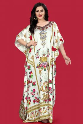 White Color Satin Kaftan Pakistani Kurti
