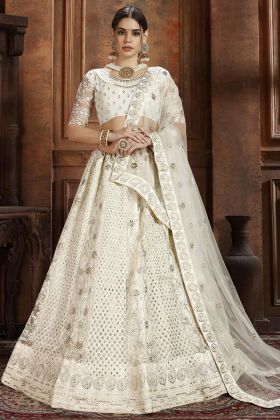 White Color Soft Net Lehenga Choli With Thread Work