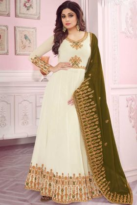 White Georgette Aabaya New Design Partywear Suit