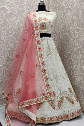 White Georgette Designer Lehenga Choli For Wedding