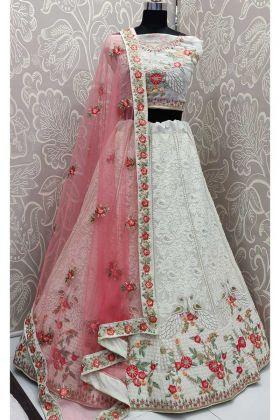 White Georgette Indian Wedding Lehenga Choli