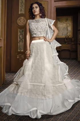 White Lehenga In Net Fabric For Wedding Ceremony
