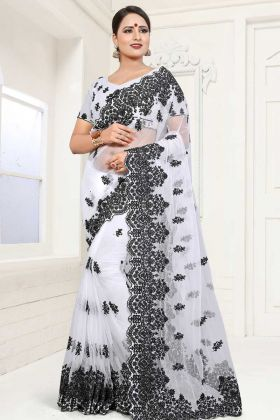 White Net Fabric Party Wear Saree In Embroidered Work