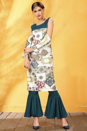 White Rayon Digital Printed Kurti