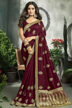 Wine Art Silk Party Wear Saree For Girls