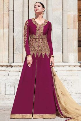 Wine Beautiful Designer Floor Length Anarkali Suit