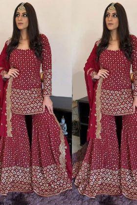 Wine color 60 Gm Georgette Yankita Kapoor Sharara Suit