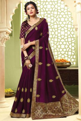 Wine Color Art Silk Jari Embroidery Saree