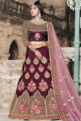 Wine Color Beautiful Look Bridal Wedding Pure Tafetta Lehenga Choli