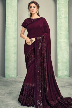 Wine Color Lycra Sequins Embroidery Fancy Saree