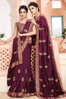 Wine Color Party Wear Weaving Saree