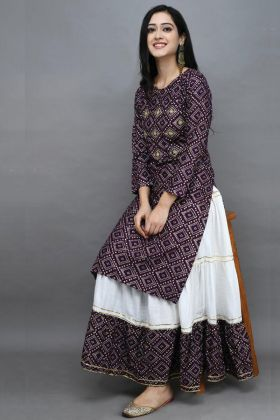 Wine Color Rayon Adorable Kurti With White Long Skirt