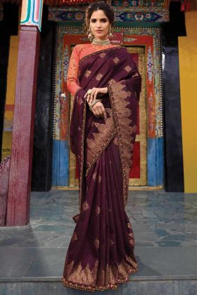 Wine Color Wedding Wear Raw Silk Saree