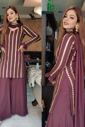 Wine colour sarara salwar suit with fancy thread work dupatta