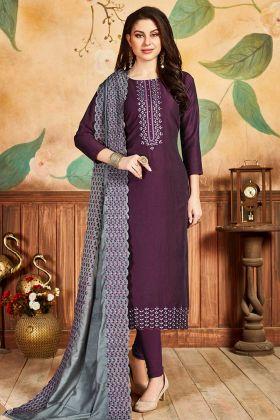 Wine Pandora Silk Salwar Suit For Girls