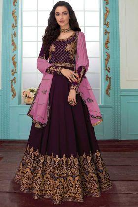 Wine Party Wear Designer Anarkali Salwar Kameez