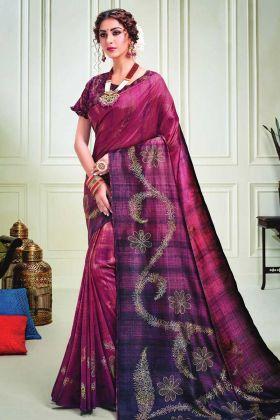 Wine Purple Party Wear Silk Fabric Saree