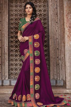 Wine Vichitra Silk Fancy Saree With Green Designer Blouse