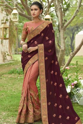 Wine and Dusty Pink Georgette Saree