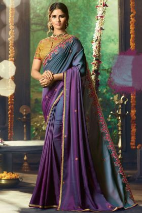 Wine and Grey Color Saree