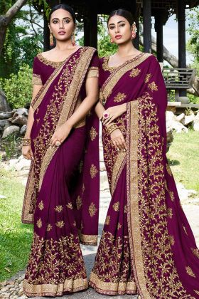 Wine Art Silk Zari Embroidered Saree For Wedding
