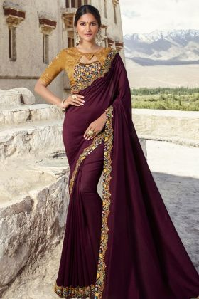 Wine Barfi Silk Fancy Saree