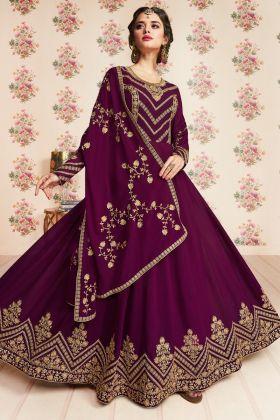 Wine Color Anarkali Salwar Suit