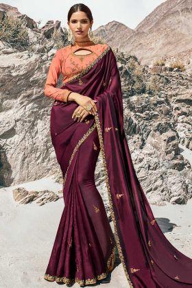 Wine Color Barfi Silk Resham Embroidery Work Ladies Saree