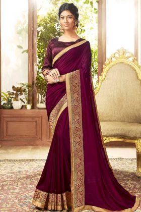 Wine Color Chanderi Silk Wedding Saree
