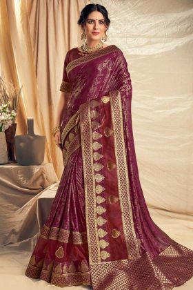 Wine Color Fancy Silk Wedding Saree