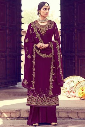 Wine Color Georgette Palazzo Salwar Suit In Lace Border