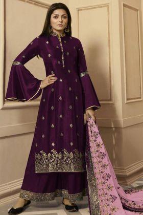 Wine Color Georgette Satin Palazzo Salwar Kameez With Zari Embroidery Work