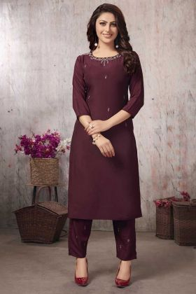 Wine Color Muslin Party Wear Kurti With Pant Set