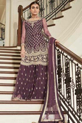 Wine Color Net Sharara Salwar Suit With Embroidery Work
