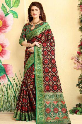 Wine Color Patola Jacquard Silk Festive Saree In Weaving Work