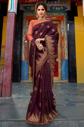 Wine Color Resham Embroidery Work Weaving Raw Silk Designer Saree
