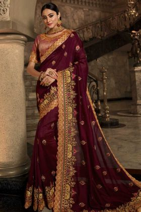 Wine Color Soft Silk Festival Saree With Jari Embroidery Work