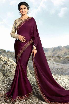 Wine Color Soft Silk Saree Online