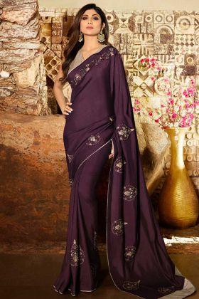 Wine Color Soft Silk Shilpa Shetty Latest Saree Design In Embroidery Work