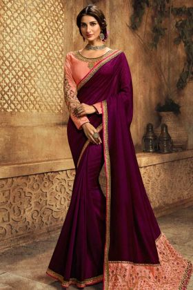 Wine Color Traditional Special Sarees Collection