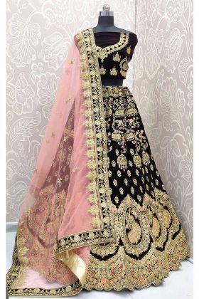 Wine Color Velvet Fancy Designer Lehenga In Zari Embroidered Work