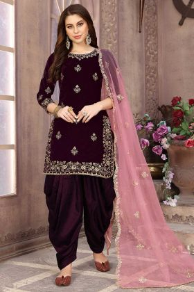 Wine Color Velvet Patiala Suit With Zari Embroidery Work