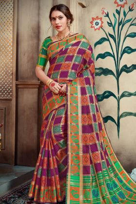 Wine Lichi Art Silk Traditional Saree